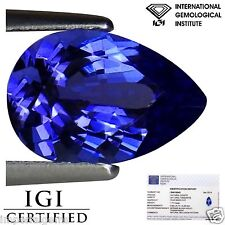 1.77 Ct IGI Certified AA Natural D Block Tanzanite Blue Violet Color Pear Cut