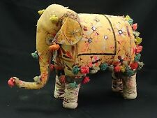 LARGE ANTIQUE EARLY 20 c INDIA CEREMONIAL STUFFED ADORNED FABRIC ELEPHANT ~ 26""