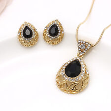 Charm Black Crystal Drop Necklace Earrings Set Wedding Gold Jewelry Pendant Gift
