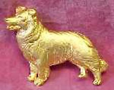 Chema Sotoca 24K Gold Plate Dog Brooch Pin Jewelry NEW Border Collie