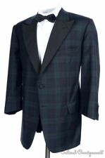 ISAIA Blackwatch Grosgrain Peak Lapel Evening SMOKING Jacket Blazer Bespoke 42 R