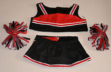 "Teddy Bear BLACK & RED Cheerleader CLOTHES Fit 14""-18"" Build-a-bear, !!! NEW !!!"