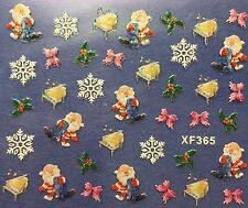 Nail Art 3D Decal Stickers Christmas Santa Snowflakes Bows Holidays XF365