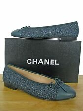 CHANEL Classic CC Tweed Leather Ballerina Ballet Flats Shoes 38.5 NIB