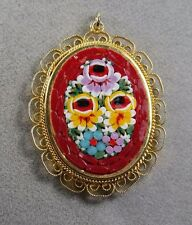 VINTAGE 1960'S ITALY ITALIAN MICRO MOSAIC FILIGREE PENDANT FOR A NECKLACE /RED
