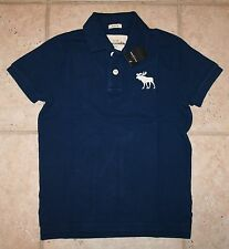 NWT Abercrombie Boys Small Glow in the Dark Blue Logo Polo Shirt - LAST ONE!