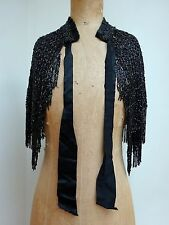 Antique Black Beadwork Cape Bead Work Victorian Top Shawl Capelet Antique Beaded