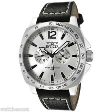 Invicta Men's 0855 II Collection Multi-Function Silver Dial Black Leather Watch