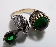 STERLING 925 SILVER HANDCRAFT JEWELRY CLEAR EMERALD LADIES RING / ADJUSTABLE
