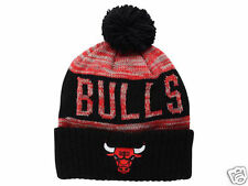 "Chicago Bulls Mitchell and Ness ""NBA Team Color Jacquard Stripe Pom Knit Toque"