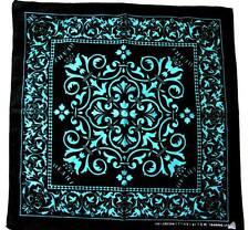 "20"" BLUE-BLACK HEART FLOWER BANDANA SCARF HEADBAND BIKER NECK WRAP 100% COTTON"