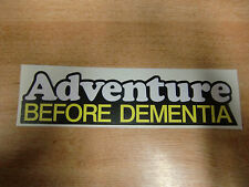 Adventure Before Dementia - sticker/decal 200mm - black, white + yellow