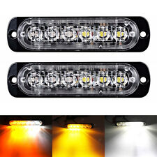 2X18W CREE Bulb 6LED Amber/White Flash Emergency Hazard Warning Strobe Light Bar