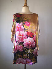 M/L ) Asian 100% Silk Peonies Oversized Batwing Slit Shoulder Flowy Blouse