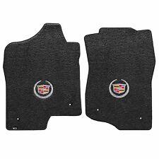2007-2014 Cadillac Escalade Ebony Black Front Floor Mats - Crest & Wreath Logo