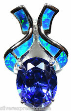 3.85 Ct Tanzanite & Blue Fire Opal Inlay 925 Sterling Silver Pendant  Necklace