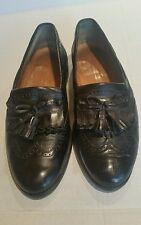 MEN'S black JOHNSTON & MURPHY cellini tassle loafers croc alligator shoe 9 M
