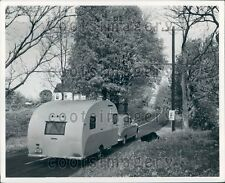 Car Pulling Vintage Camping Trailer Rural Road Near Tilton NH Press Photo
