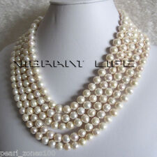 "100"" 8-10mm White Freshwater Pearl Necklace Natural Color AC"