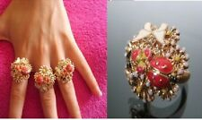 R74 BETSEY JOHNSON ~PINK~ Garden Collection Flowers Ladybug Butterfly Ring US