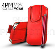 Button PU Leather Pull Tab Pouch Case Cover & Stylus for Various Motorola Phones