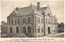 U.S. Court House and Post Office in Sioux Falls SD Postcard 1907