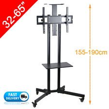 """32-65"""" LED PLASMA LCD TV Stand Mount Bracket Mobile Trolley With Wheels + Shelf"""
