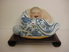 Vintage Chinese Jingdezhen (景德镇 國泰瓷莊) Hand Painted Porcelain Laugh Buddha Statue