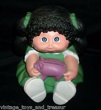 VINTAGE 1983 CABBAGE PATCH KIDS DOLL PIGGY MONEY BANK COIN PLASTIC BROWN HAIR