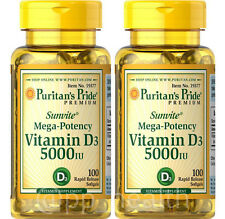 2X Puritan's Pride Mega-Potency Vitamin D3 5000 IU total 200 Softgels