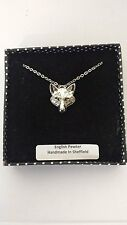 A72 Fox Head 2 english pewter 3D Platinum Necklace Handmade 18 INCH