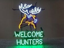 "Welcome Hunters Deer Buck Stag Neon Sign 24""x20"" Q177L"