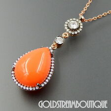 KARINA ARIANA 925 SILVER ROSE GOLD PLATED ORANGE QUARTZ CZ DROPLET NECKLACE 18""