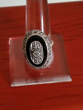92.5 STERLING SILVER BLACK TRIM ONYX MARCASITE RING SIZE 9.25 - ARGENT CREATIONS