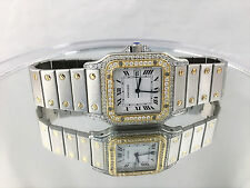 Mens Cartier Santos Steel 18 k watch Galbee Cartier Watch w/Diamond Automatic