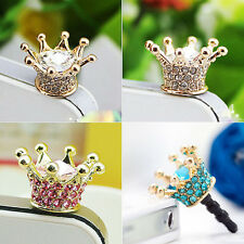 3x Bling Crown Anti-Dust Plugs Phone Charm Accessory FOR iPhone Samsung 3.5mm