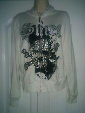 Ladies Smet by Christian Audiger zip up hoodie. Medium white skulls bling