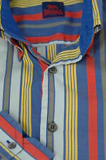 Lonsdale Men's Blue Red & Yellow Stripe Cotton Casual Shirt S Small