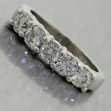 Vtg Platinum .75ctw Round Cut Diamond Wedding Anniversary Engagement Band Ring