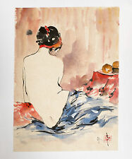 Vietnamese Watercolour Painting on Rice Paper - Half Naked Woman Signed Original