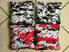 Quality Cornhole Bags, corn hole Red & Black Digital Camouflage free ship