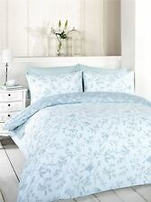 FLORAL BIRDS ON BRANCHES KING SIZE DUCK EGG BLUE COTTON BLEND DUVET COVER