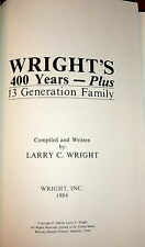 Wright Family Genealogy, Colonial New Jersey & Kentucky History. SIGNED