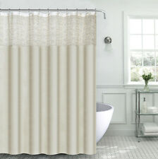 Ivory White Sheer Embroidered Scroll Design Decorative Shower Curtain