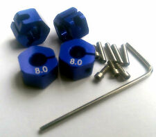 RC 1/10 Car 12mm hex 8mm Alloy Locking Lock Wheel Rim Adapter Adaptor Hub BLUE