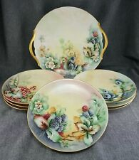 "Limoges DESSERT SET - T&V CAKE PLATE + 6 Haviland 7.5"" PLATES + 1 Thomas 7.5"""