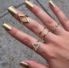 5PCS Arrow Midi Above Knuckle Ring Band Gold Silver Tip Finger Stacking Gold