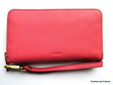 """FOSSIL SYDNEY LEATHER RFID PHONE WRISTLET WALLET """"ROSE"""" (NEW) MSRP $75 ~ NWT!"""