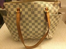 LOUIS VUITTON Authentic White Damier Azur Canvas Totally PM Tote Handbag