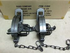 2 New Duke # 3 Coil Spring Traps  Beaver Fox Bobcat Coyote Wolf Trapping 0500